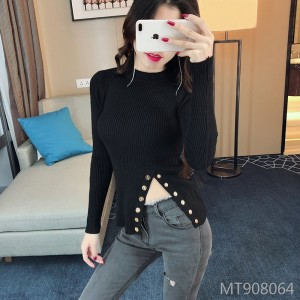 Sexy Knitwear Slim Fit Thin Hem Split Irregular Long Sleeve Top