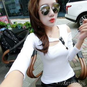Slim Korean version of the off-the-shoulder careful machine long-sleeved bottoming shirt female tide