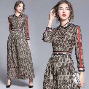Joker waist slim slimming positioning print dress