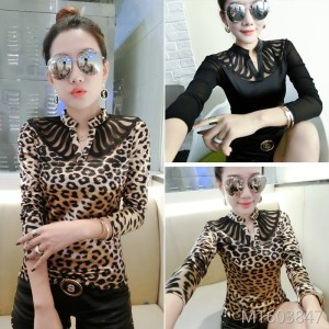 Stitching leopard print Korean version of the small stand collar Slim thin bottoming shirt female tide