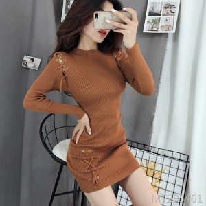 Thin straps hip knit dress wild bottoming long sleeve skirt women