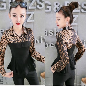 Fake two-piece shirt female long-sleeved slim waist temperament dress