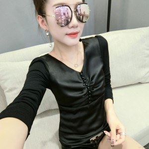 Mesh long-sleeved slim slimming fashion wild bottoming shirt female tide