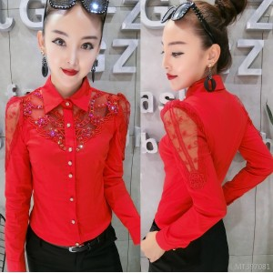 Heavy work beaded long-sleeved shirt Slim bottoming shirt female tide