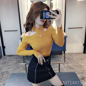 Cross-neck strapless sweater women's slim slim long-sleeved shirt