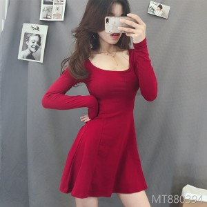 Korean fashion temperament waist slimming A word dress