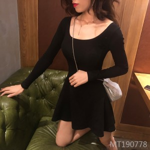 Sexy dress u-neck chest slim temperament waist long-sleeved skirt women