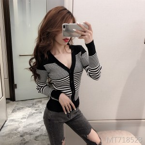 Striped long-sleeved knit cardigan fashion design slinky shirt