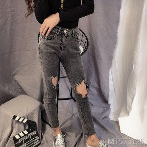 Korean version of the skinny skinny pants pants hole rotten jeans women