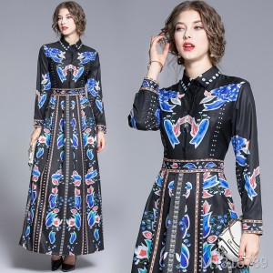 Waist slim versatile positioning print dress