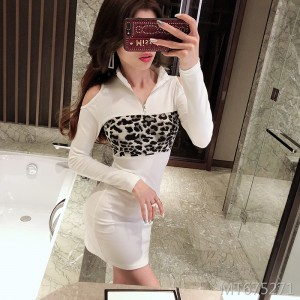 High V-neck dress stitching leopard print sexy strapless hip skirt