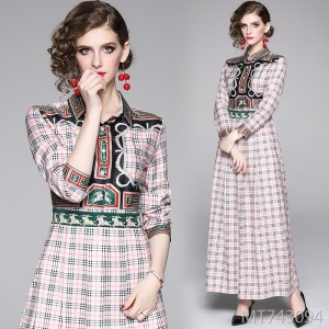 Slim-fit slim waist positioning print dress