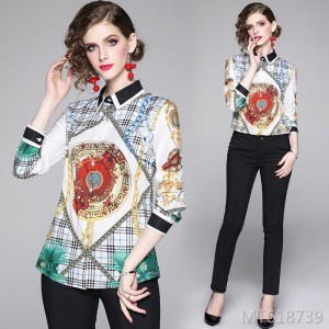Fashion waist slimming positioning printed shirt