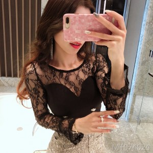 Lace stitching T-shirt nightclub sexy chest tights shirt women