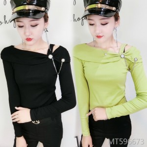 Slim fashion one-shoulder diamond long-sleeved T-shirt bottoming shirt female tide