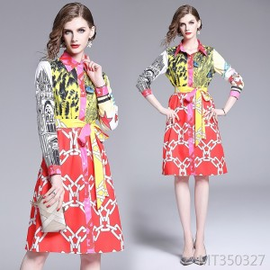 Loose large size positioning printed shirt collar dress