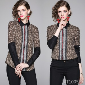 Fashion slim slimming positioning print shirt