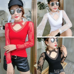Personality hot drilling lace long sleeve bottoming shirt Korean version of the small shirt female tide