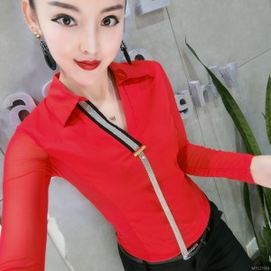 Slim and thin chain Slim long-sleeved shirt bottoming shirt female tide