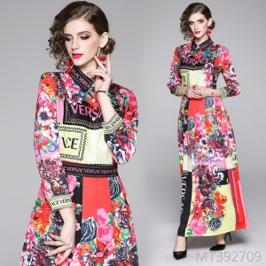 Fashion versatile slim slimming positioning print dress