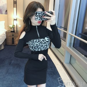Leopard Print Off-Shoulder Dress Sexy Tights Skinny Skirt