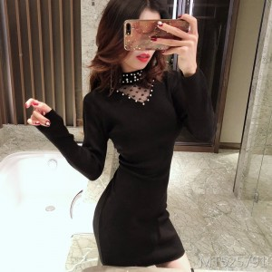 Sexy splicing mesh bottoming knit openwork hip skirt