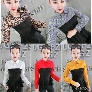 Colorblock fake two-piece shirt female long-sleeved slim waist temperament mini dress