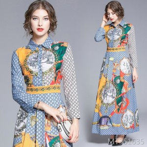 Joker waist slimming positioning print dress
