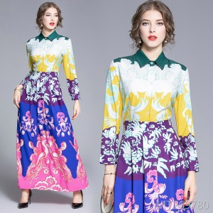 Waist slim and versatile positioning print dress