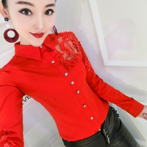 Personalized hook flower hollow beaded long-sleeved shirt bottoming shirt female tide