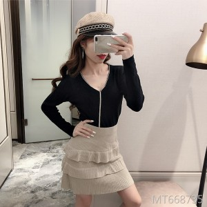 Slim bling diamond knit top + lace a word skirt dress set
