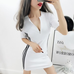 Zipper waist slimming nightclub sports casual dress