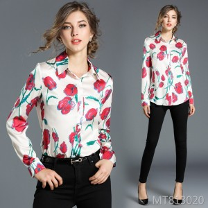 Temperament shirt female long sleeve rose print wild bottoming shirt