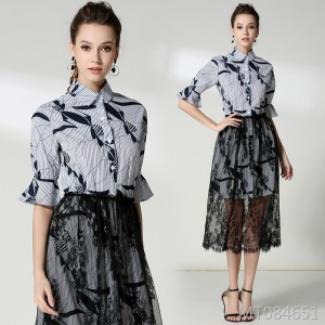 Lace gauze skirt + printed trumpet sleeve dress shirt