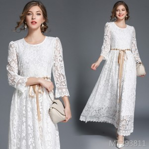 Lace-up bow long waist oversized lace dress