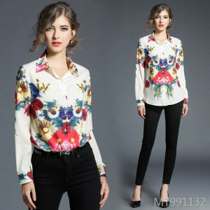 New European and American flower print long sleeve lapel shirt