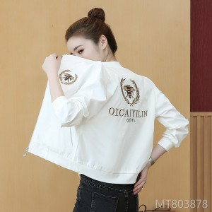 2019 loose baseball uniform embroidered round neck long sleeve jacket