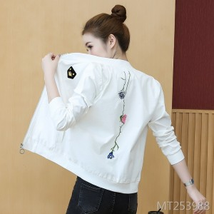 Wild solid color flower embroidery baseball uniform shirt female