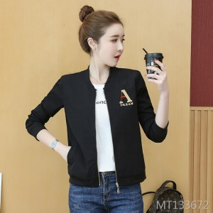 Embroidered letter jacket casual wild baseball uniform shirt women