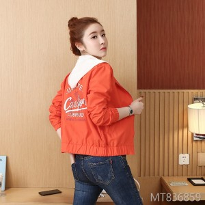 New hooded literary print top stitching jacket