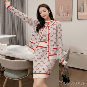 Bow pattern knit three-piece women's net red casual fashion suit