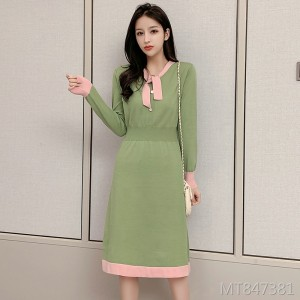 Korean version of the waist was thin temperament in the long sweater a word skirt