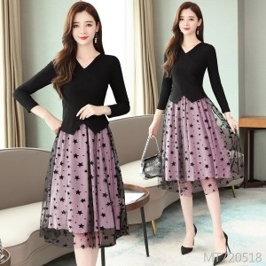 Korean version of the stitching was thin and long fake two-piece skirt