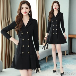 Lapel double-breasted dress Slim thin small A-line skirt