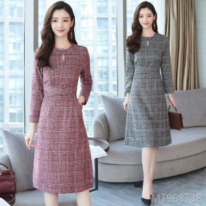 Thick Korean version of the self-cultivation in the long paragraph lattice bottoming winter skirt