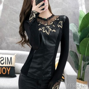 Mesh leather and diamond-studded bottoming shirt sexy lace openwork top