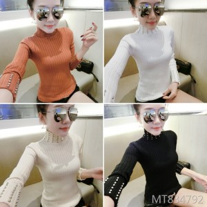 Beaded Slim Bottoming Shirt Simple Pullover Knit Top