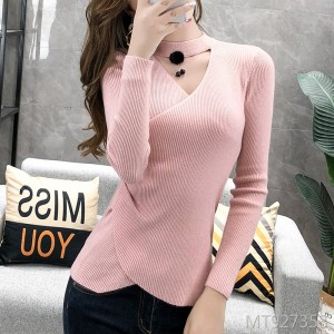 Hair ball bottoming sweater bright silk V-neck fashion sweater