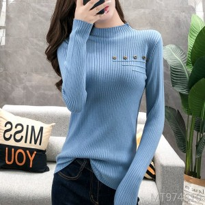 Studded long-sleeved sweater female Slim half-necked bottoming sweater
