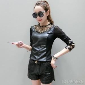Mesh bottoming shirt women's long-sleeved wild PU leather lace top